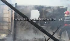 Trei case au fost distruse de un incendiu violent. Patru autospeciale s-au luptat cu flăcările