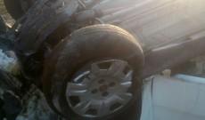 Accident grav la Răzvad. Un şofer s-a răsturnat cu maşina