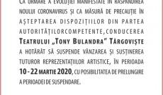 Teatrul Tony Bulandra şi-a suspendat toate spectacolele, până pe 22 martie