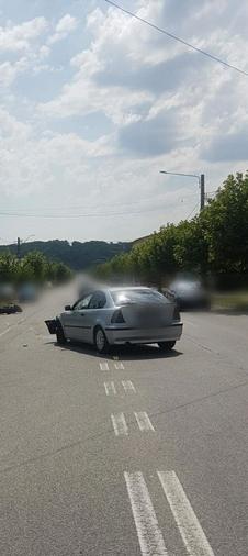 Accident între un BMW și o motocicletă, la Moreni