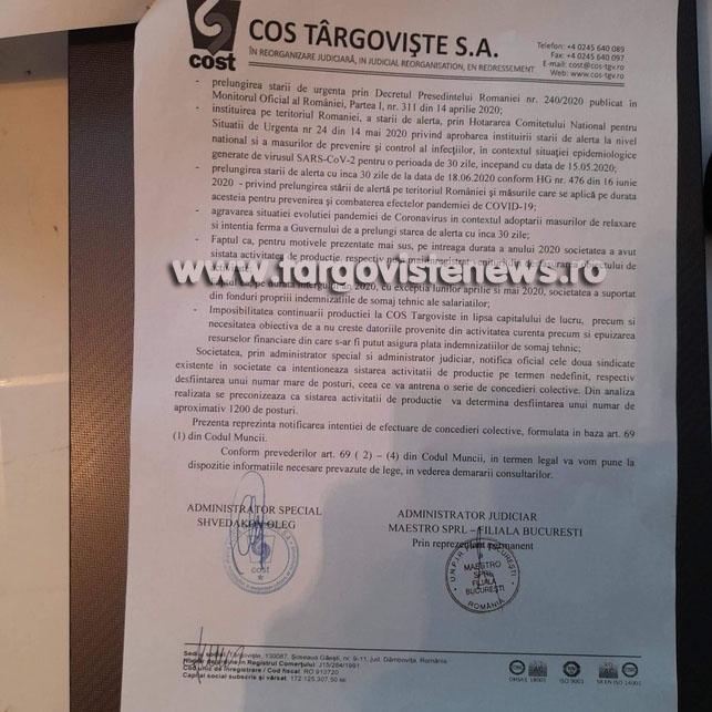 Concediere colectivă la COS Târgovişte. Peste o mie de oameni rămân fără venituri
