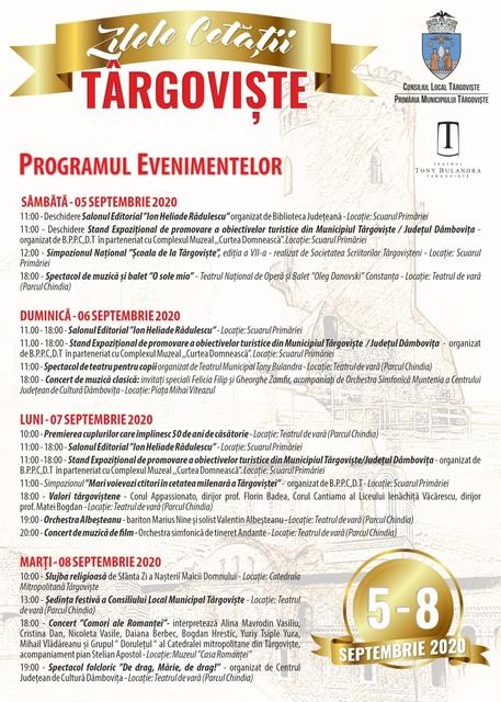 Zilele Cetăţii Târgovişte 2020, programul de marţi, 8 septembrie