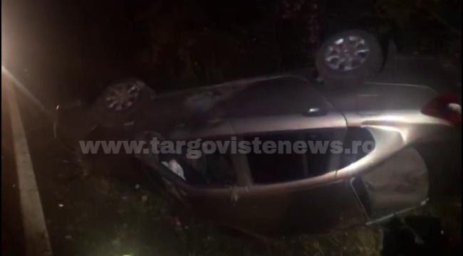 Mașină aruncată în șanț, după ce a fost izbită de un șofer beat, pe DN 72, la Adânca. Ce alcoolemie avea