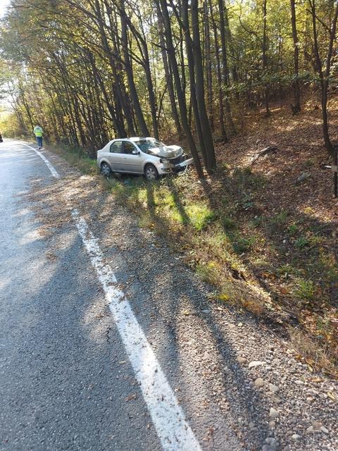 Un şofer s-a izbit cu maşina de un copac, în pădurea de la Dragodana