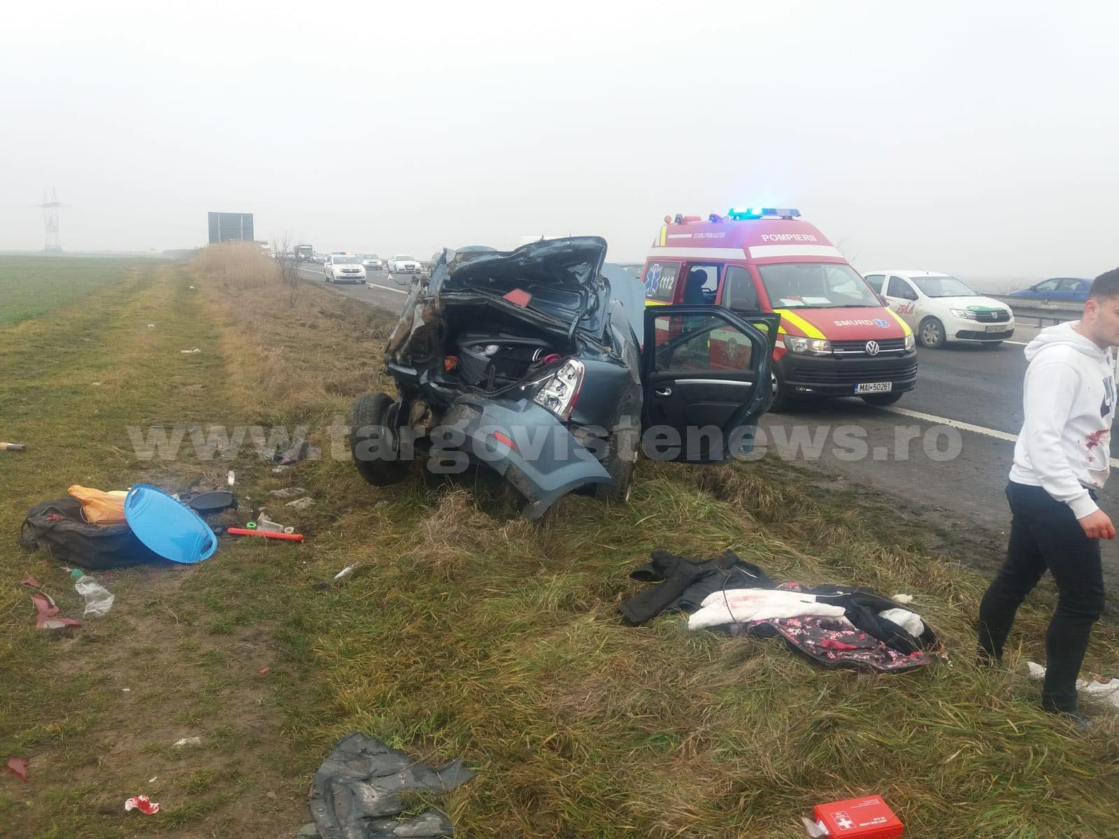 Accident pe Autostrada Bucureşti – Piteşti. Patru oameni au fost răniţi