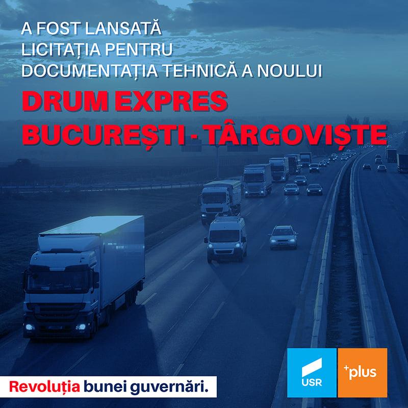 """Daniel Blaga, deputat USR PLUS – """"Vești bune pentru dâmbovițeni! Astăzi, a fost lansată oficial licitația pentru documentația tehnică a noului drum expres Târgoviște – București!"""""""