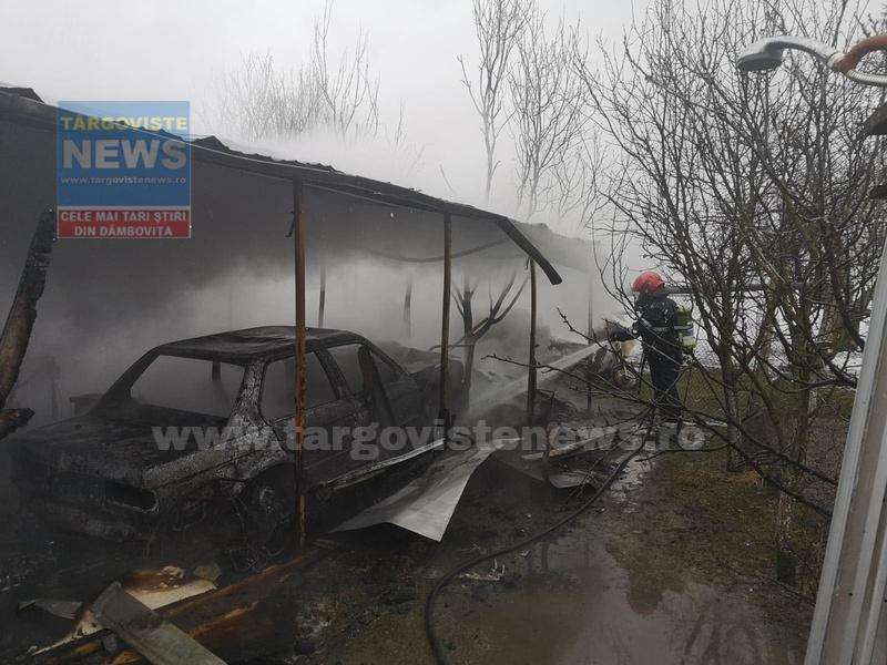 Atelier auto, distrus de flăcări, la Breaza