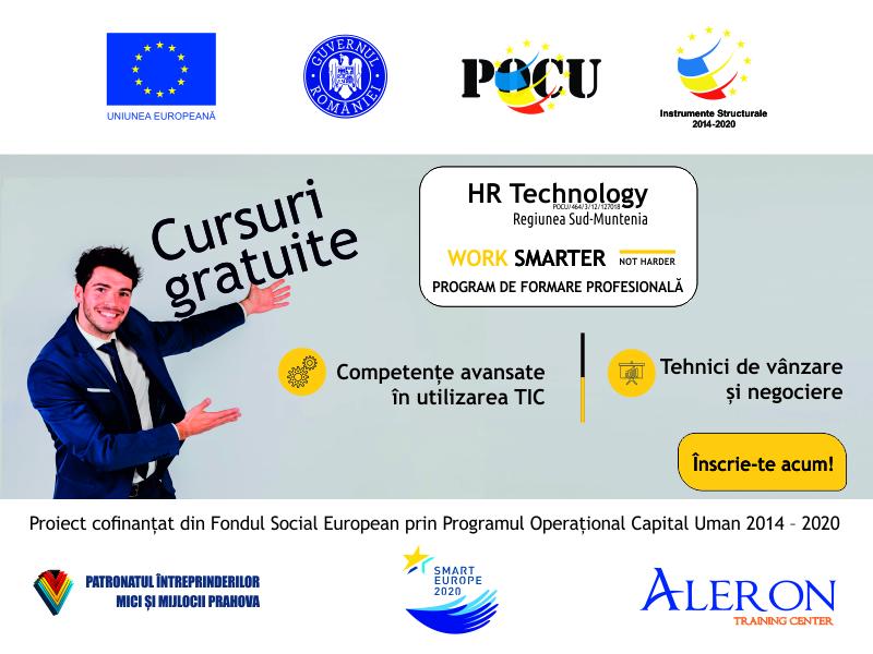 Patronatul Întreprinderilor Mici și Mijlocii PIMM Prahova, în parteneriat cu Asociația Smart Europe 2020 și Aleron Training Center anunță derularea implementării proiectului HR TECHNOLOGY – POCU/464/3/12/127018