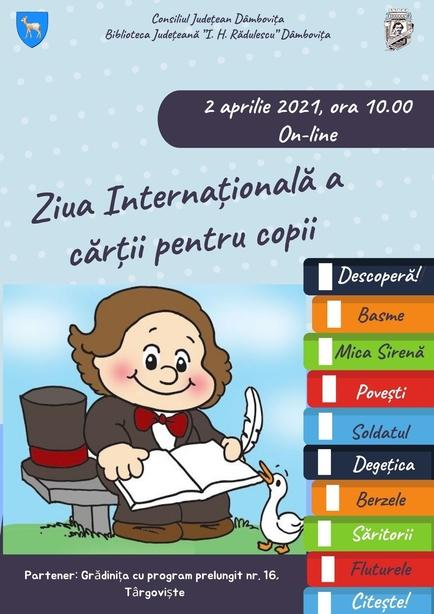 Mâine, de la ora 10:00, online, pe ZOOM, activități de prezentare a vieții și operei scriitorului Hans Christian Andersen