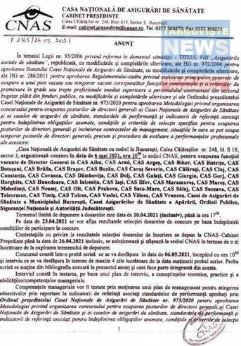 """Postul de președinte al Casei Județene de Asigurări de Sănătate Dâmbovița a fost scos la concurs.  <""""Profesionalismul și competențele reale să înlocuiască """"prieteniile"""" >"""