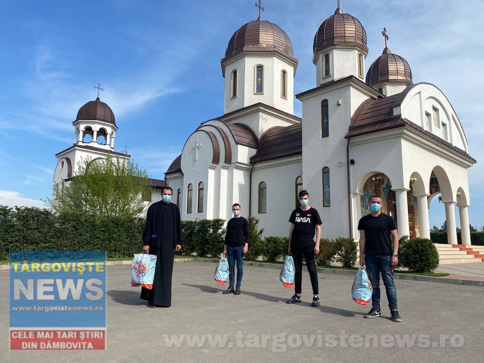 30 de familii au primit daruri de Paşte din partea tinerilor din parohia Sf.Voievod Neagoe Basarab