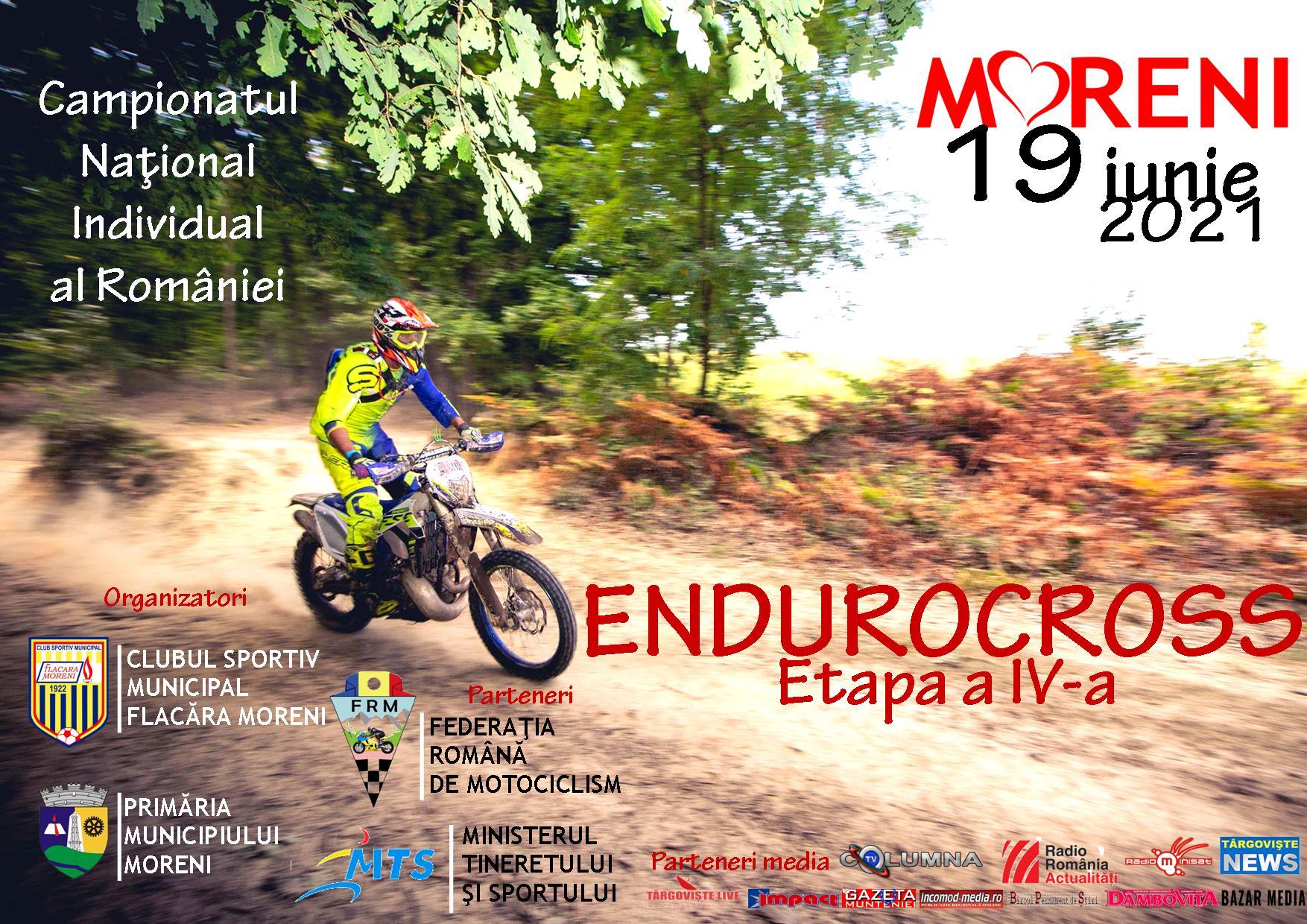 A IV-a etapă din Campionatul Naţional Individual al României la Endurocross, pe 19 iunie, la Sângeriş, în Moreni