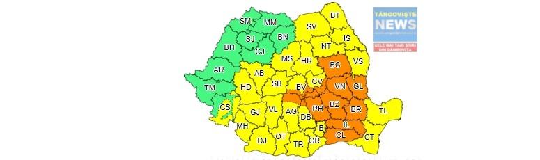 Cod portocaliu de ploi torenţiale, în Dâmboviţa, până sâmbătă, la ora 23
