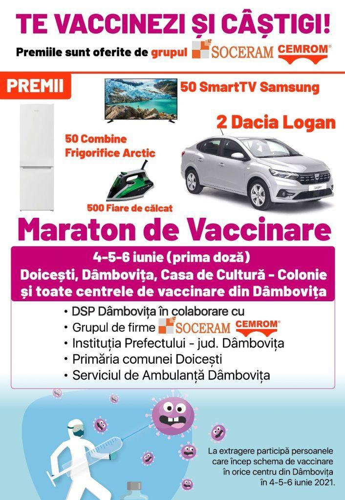 Doicești – Tombolă cu premii consistente pentru cei care se vaccinează între 4 și 6 iunie –  O mașină, zeci de smart TV-uri și combine frigorifice