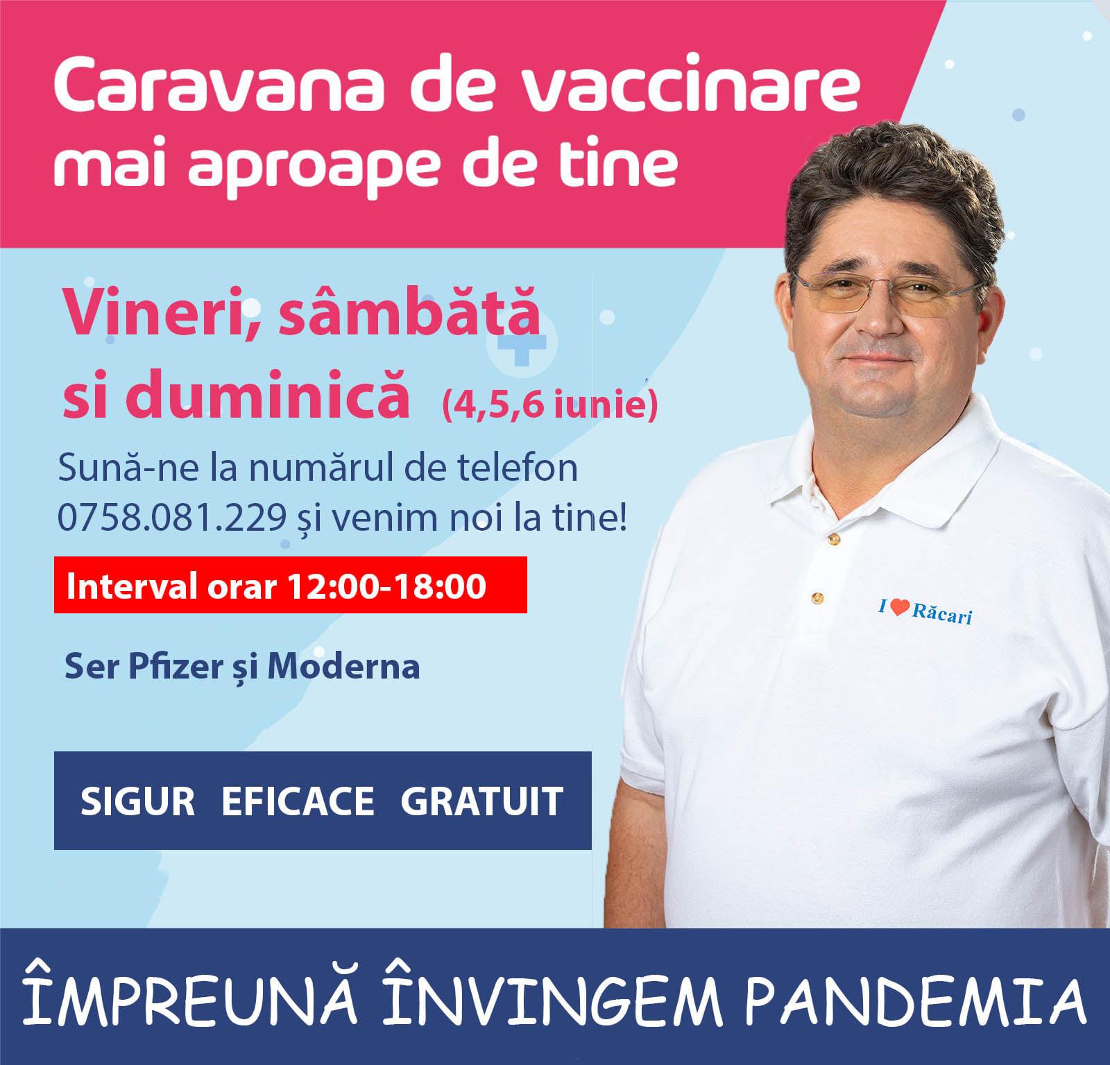 Răcari – Caravana de vaccinare vine la tine