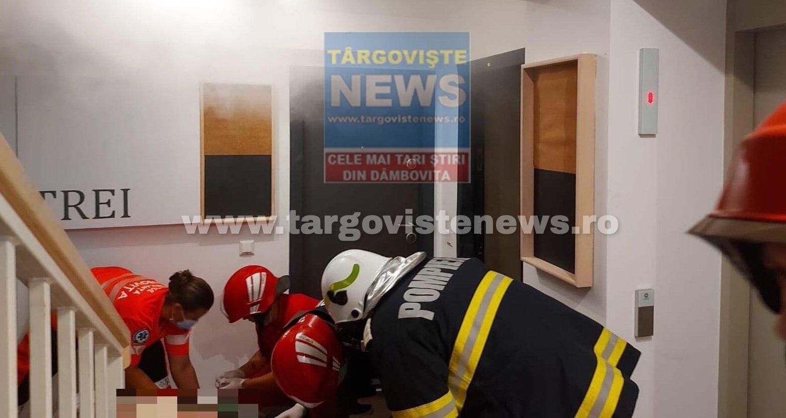 Intervenție de urgență într-un complex rezidențial din Târgoviște. O locatară, în pericol de moarte