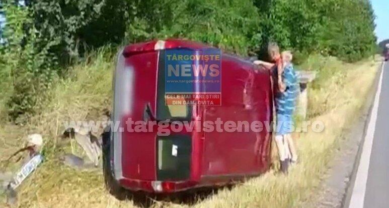 VIDEO – Un șofer cu o alcoolemie uriașă s-a răsturnat cu mașina pe DN 72A, lângă Hanul Logofătului