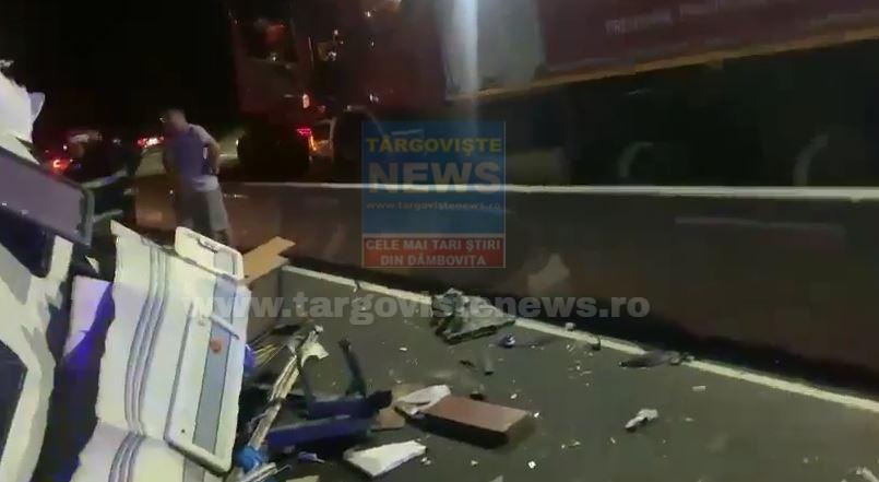 ACUM – Un camion a intrat într-o rulotă, pe DN 7, la Tărtăşeşti
