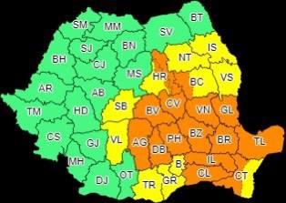 Cod portocaliu de ploi torențiale, vijelii și grindină, în nordul județului Dâmbovița