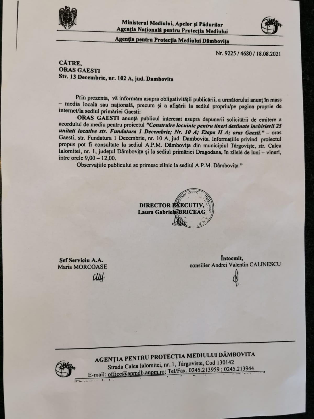 """ANUNȚ Primăria Găești – Solicitare acord de mediu pentru proiectul """"Construire locuințe pentru tineri"""""""
