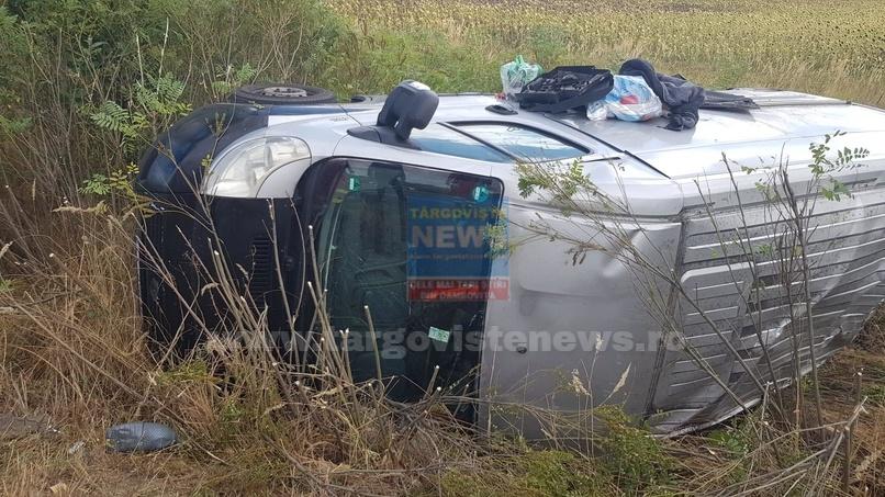 VIDEO – Accident pe Autostrada Bucureşti – Piteşti, la kilometrul 80. O autoutilitară s-a răsturnat