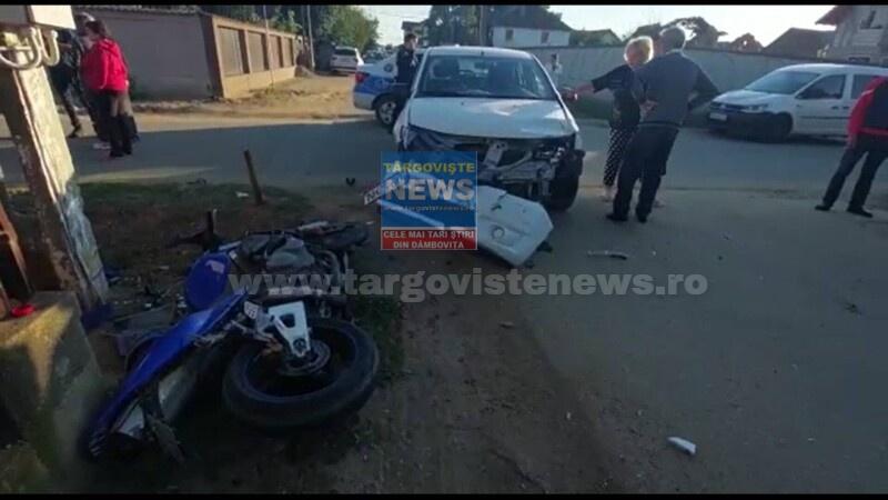 FOTO – VIDEO: Un tânăr motociclist a fost rănit grav, la Băleni, de un şofer de 69 de ani