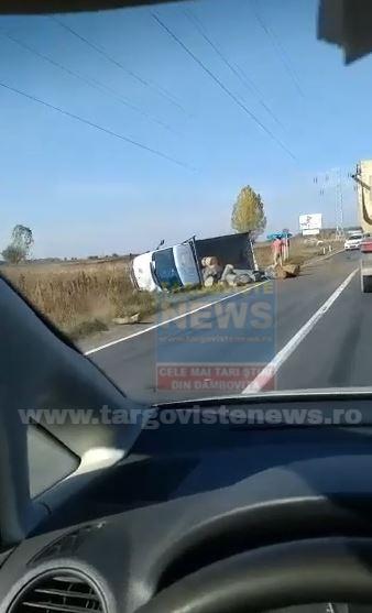 ACUM – Două accidente pe DN 71, unul la Ulmi, altul la intersecţia cu Racoviţă. FOTO/VIDEO