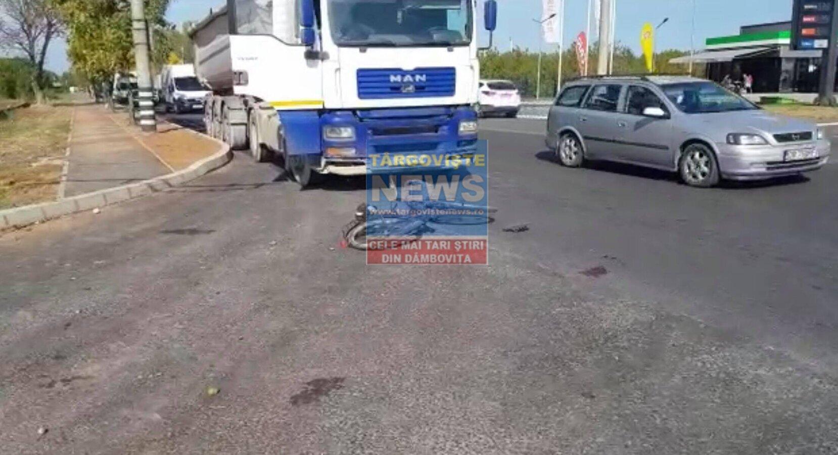 Un biciclist a fost grav accidentat de un camion, la Târgoviște
